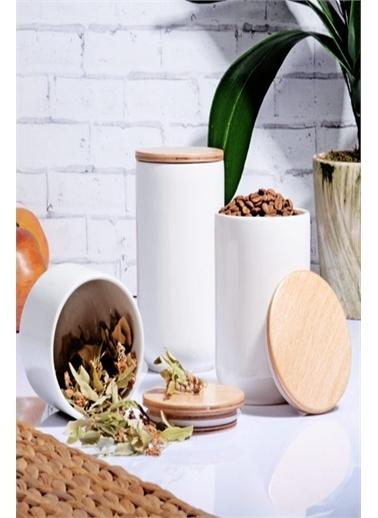 Else Halı Bambu Kapaklı 3 Lü Beyaz Porselen Kavanoz Baharat Saklama Kabı Renkli